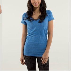 Lululemon Run: Swiftly Tech V Neck Shirt Blue, 4